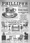 Old Antique Print 1890 Phillips's Royal Worcester China Maple Furniture 19th
