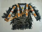 Old Native American Style Black Leather Fringes Sioux Beaded War Shirt Nab183