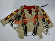 1800and039s Old Style Beaded Fringe Tan Buckskin Suede Leather Powwow Shirt Sx63