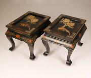 Vintage Black Lacquer End Tables Meiji Style Japan Stone Carving Hand Made