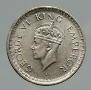 1943l India States Uk King George Vi Antique Silver 1/2 Rupee Indian Coin I91774