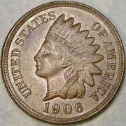 1906/19_6 Indian Head Cent/penny Re Punched Date Very Scarce Beautiful Features