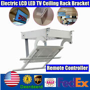 Electric 32-70 Inch Led Lcd Tv Ceiling Lift Hanger Turner Remote Remote 90anddeg Rota