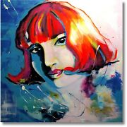 Modern Art Unicum Girl Portrait Painting Abstract Painting Wall Picture Nr.1042