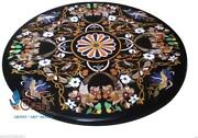 Black Marble Round Dining Decorative Table Top Multi Stone Marquetry Inlaid Dandeacuteco