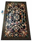 Collectible Marble Black Conference Center Table Top Marquetry Birds Floral Déco