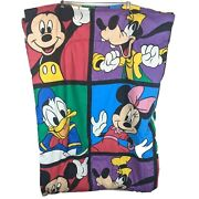 Mickey Mouse Donald Duck Goofy Minnie Comforter Blanket Twin Bed Size Rainbow