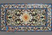 Unique Handmade Dining Marble Table Top Multi Color Stone Inlaid Art Living Deco