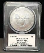 2012-w American Silver Eagle Pcgs Ms70 First Strike - Signed Mercanti - 0366