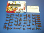 Cowboys - Airfix S.7 1960's - 42 Scale Figures With Box Ho/oo England/uk