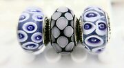 3 Pieces Pandora Sterling Silver Glass Charm Blue Purple Flower Marbles Beads