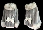 Silver Mink White Fox Fur Cape, Cerulean Real Vintage Stole , Great Gatsby Party