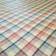 Vintage Faribo Wool Blanket Pink Blue Cream Plaid Made In Usa 91x91 Square
