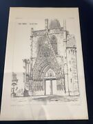 1858 Germany Erfurt Cathedral Norman Shaw Antique Architecture 29x42cm