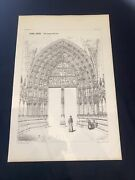 1858 Germany Freiburg Cathedral Norman Shaw Antique Architecture 29x42cm