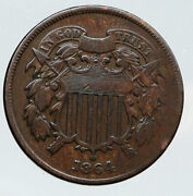 1864 United States 2 Cents 1st In God We Trust On Us Coin After Civil War I91808