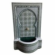 Large Moroccan Mosaic Tile Fountain - Green And White Zellige
