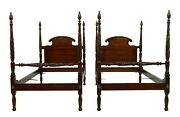 F52098ec Pair Antique Carved Mahogany Twin Size Poster Beds