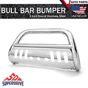 For 2016-2021 Toyota Tacoma 3 Bull Bar Grill Guard Front Bumper W/ Skid Plate