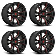 Set 4 24 Fuel D712 Rage 24x12 Gloss Black Red Tinted Clear 8x170 Wheels -44mm