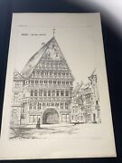 1858 Germany Hildesheim Timber Norman Shaw Antique Architecture 29x42cm