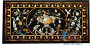 Black Marble Top Center Dining Table Semi Precious Flower Art Inlay Living Gifts