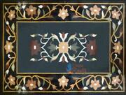 Black Marble Dining Table Top Flower Marquetry Inlay Design Outdoor Dandeacutecor Gift