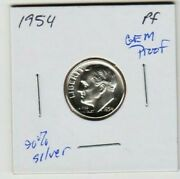 1954 P Roosevelt Dime 90 Silver Proof Coin Fdr Sl Mintage 233,300 Key