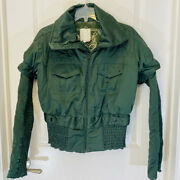 Diesel Green Bomber Jacket Ruching Ruched Hem Sleeves Cuffs Marked Sample Sz S