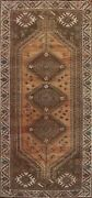 Antique Geometric Tribal Abadeh Hand-knotted Runner Rug Evenly Low Pile Wool 4x9