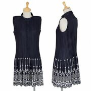 Pleats Please Hem Embroidered Lace Erased Sleeveless Long Blouse Navy Tops 5k149