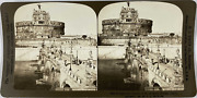 White, Stéréo, Italy, Rome, Bridge And Castle Of St Angelo Vintage Stereo Card,