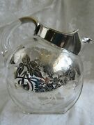 Vintage Tilted Glass Pitcher W /sterling Silver Overlay - Ribbed Base -ice Lip
