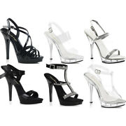 Pleaser Fabulicious Whip Stitched Ankle Strap Sandal Platform Stiletto High Heel