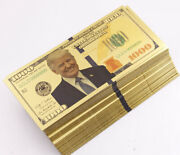 Lot 500 Pcs Gold Plated Trump Banknotes 1000 Paper Money Crafts Props Game