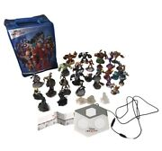 Disney Infinity 2.0 34 Piece Lot Of Figures Crystals Portal And Carrying Case Rare