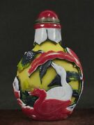 Excellent Chinese Duck Flower Bird Carved Peking Overlay Glass Snuff Bottle