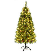 6ft Pre-lit Hinged Pe Artificial Christmas Tree W/ 250 Led Lights And Pine Cones