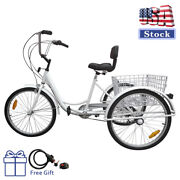 7-speed 24 Adult 3-wheel Tricycle Cruise Bike Bicycle With Basket White Usa Us