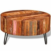 Coffee Table Solid Reclaimed Wood Round End Side Couch Table Stand Furniture