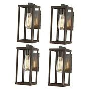 Outdoor Wall Lantern, Exterior Wall Mount Lights, 4 Pack Oil-rubbed Bronze