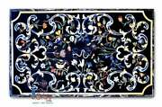 Black Top Big Dining Center Table Collectible Marquetry Gemstone Floral Fine Art
