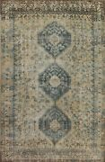 Antique Muted Tribal Abadeh Distressed Handmade Evenly Low Pile Area Rug 7x10 Ft