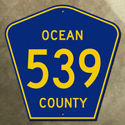 New Jersey Ocean County Route 539 Highway Marker Road Sign 24x24 1959