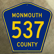 New Jersey Monmouth County Route 537 Highway Marker Road Sign 24x24 1959