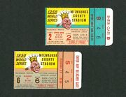 1958 World Series Ticket Stubs Games 2 And 6 Milwaukee Braves Vs New York Yankees