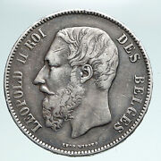 1870 Belgium With King Leopold Ii And Lion Genuine Silver 5 Francs Coin I90972
