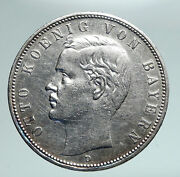 1904 Germany Bavaria Ruled By Otto I W Eagle Antique Silver 5 Marks Coin I90977