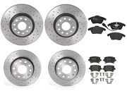 Front And Rear Brembo Xtra Brake Kit Low-met Pads Drilled Disc Rotors For Vw Jetta