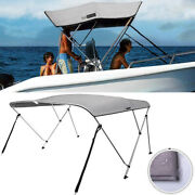 3 Bow Boat Bimini Top Canopy Cover Waterproof W/ Rear Poles 2 Straps 67and039and039-72 W